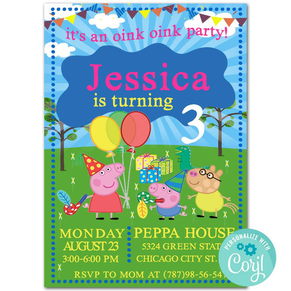 Peppa Pig Birthday Party Invitation, Peppa Pig Theme Birthday Party Invitation Corjl
