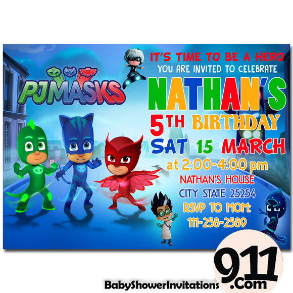 PJ Masks Birthday Invitation PJ Masks Invitation PJ Masks Party Pj Masks 17 - babyshowerinvitations911.com