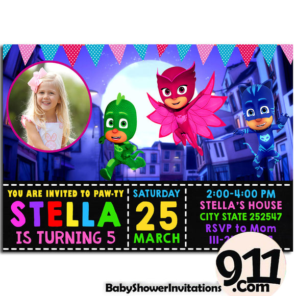 PJ Masks Birthday Invitation PJ Masks Invitation PJ Masks Party Pj Masks 18 - babyshowerinvitations911.com