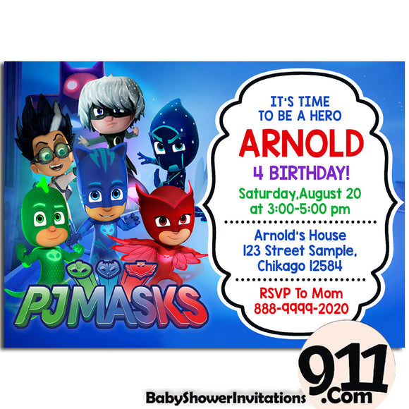 PJ Masks Birthday Invitation PJ Masks Invitation PJ Masks Party Pj Masks 19 - babyshowerinvitations911.com