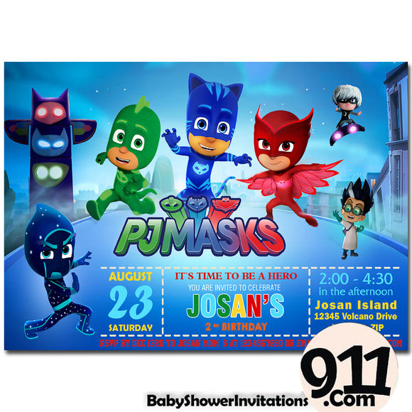 PJ Masks Birthday Invitation PJ Masks Invitation PJ Masks Party Pj Masks 21 - babyshowerinvitations911.com
