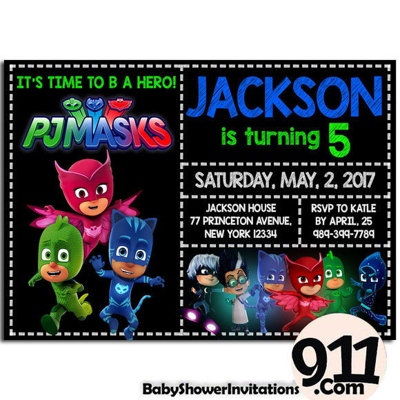 PJ Masks Birthday Invitation PJ Masks Invitation PJ Masks Party Pj Masks 22 - babyshowerinvitations911.com