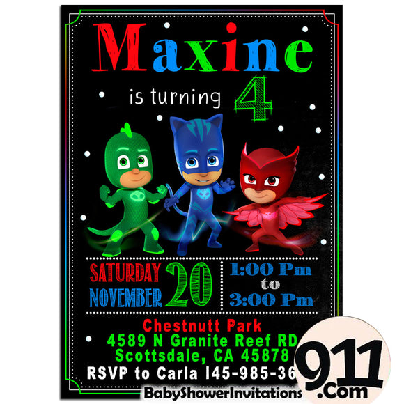 PJ Masks Birthday Invitation PJ Masks Invitation PJ Masks Party Pj Masks 23 - babyshowerinvitations911.com