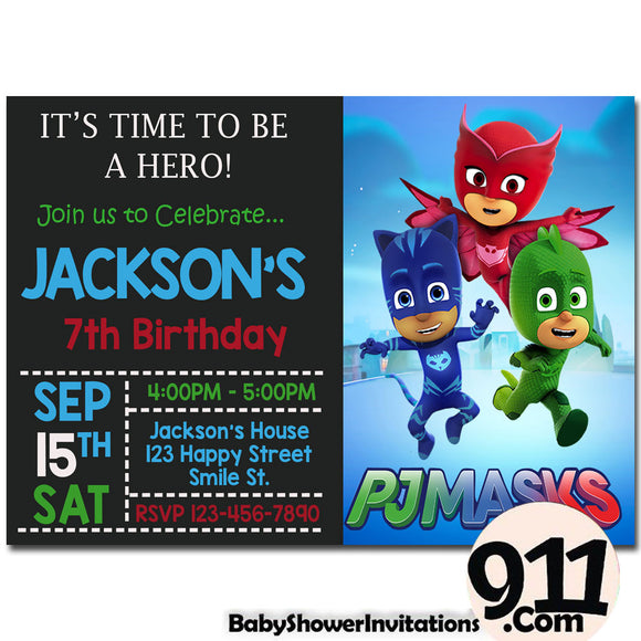 PJ Masks Birthday Invitation PJ Masks Invitation PJ Masks Party Pj Masks 24 - babyshowerinvitations911.com