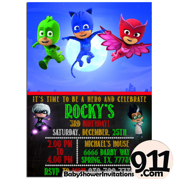 PJ Masks Birthday Invitation PJ Masks Invitation PJ Masks Party Pj Masks 26 - babyshowerinvitations911.com