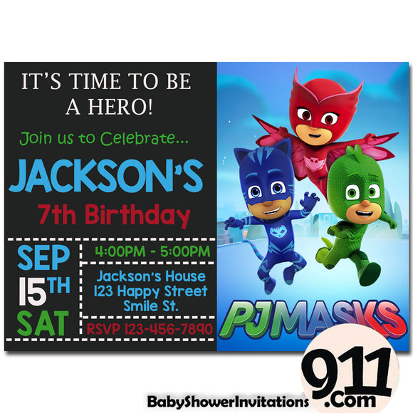 PJ Masks Birthday Invitation PJ Masks Invitation PJ Masks Party Pj Masks 27 - babyshowerinvitations911.com