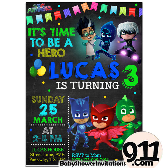 PJ Masks Birthday Invitation PJ Masks Invitation PJ Masks Party Pj Masks 28 - babyshowerinvitations911.com