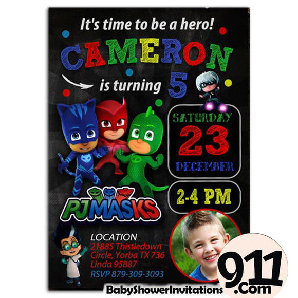 PJ Masks Birthday Party Invitation PJ Masks Theme Birthday Party Invitation ax1 - babyshowerinvitations911.com