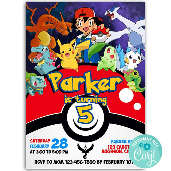 Pokemon Birthdaay Party Invitation, Pokemon Theme Birthday Party Invitation Corjl