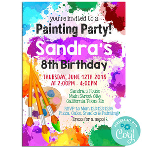 Painting Birthday Party Invitation, Painting Theme Birthday Party Invitation Corjl - babyshowerinvitations911.com
