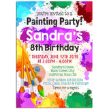 Painting Birthday Party Invitation, Painting Theme Birthday Party Invitation Corjl