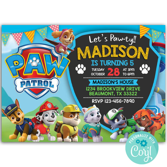 Paw Patrol Birthday Party Invitation, Paw Patrol Theme Birthday Party Invitation Corjl
