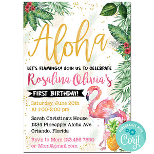 Flamingo Birthday Party Invitation, Flamingo Theme Birthday Party Invitation Corjl- babyshowerinvitations911.com