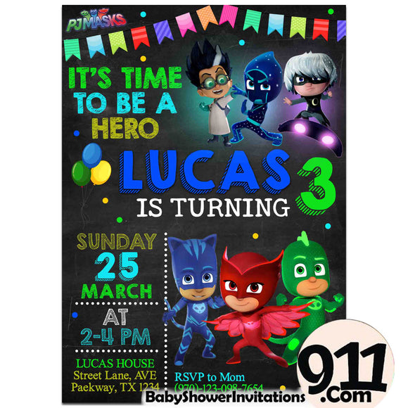 Pj Mask Birthday Party Invitation Pj Mask Theme Birthday Party Invitation Ax9 - babyshowerinvitations911.com