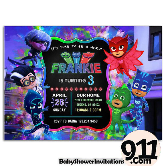 Pj Masks Birthday Party Invitation Pj Masks Theme Birthday Party Invitation A1 - babyshowerinvitations911.com