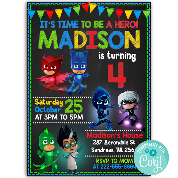 Pj Masks Birthday Party Invitation, Pj Masks Theme Birthday Party Invitation Corjl