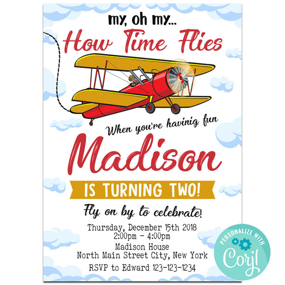 Airplane Birthday Party Invitation, Airplane Theme Birthday Party Invitation Corjl- babyshowerinvitations911.com