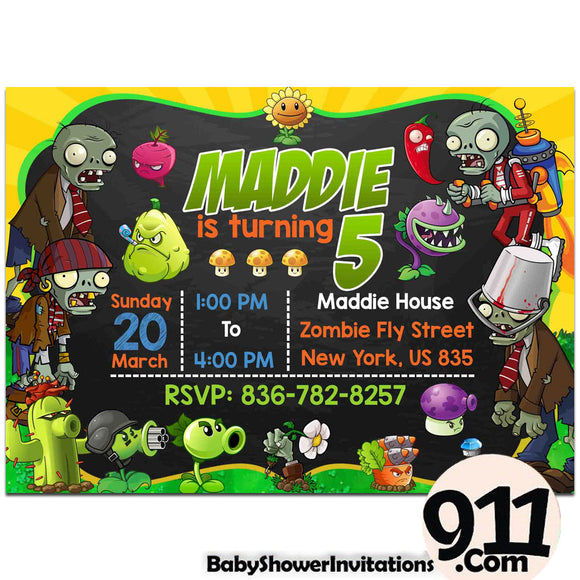 Plants Vs Zombies Birthday Party Invitation Plants Vs Zombies Theme Birthday Party Invitation Ax - babyshowerinvitations911.com