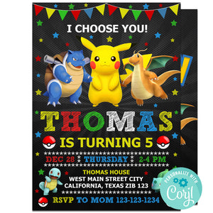 Pokemon Birthday Party Invitation, Pokemon Theme Birthday Party Invitation Corjl