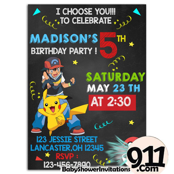Pokemon Birthday Party Invitation 1 28032020, Personalize-Invitation | BabyShowerInvitations911.com