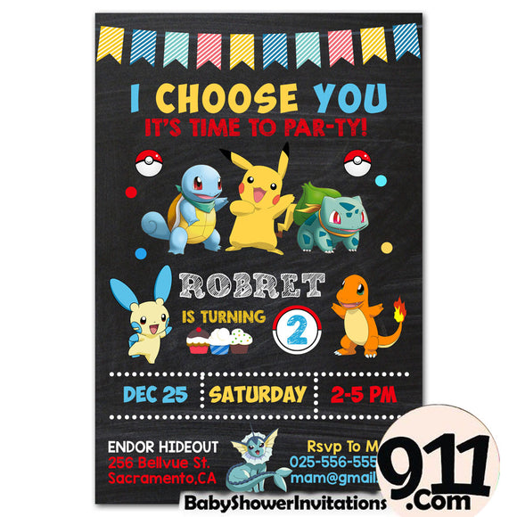 Pokemon Birthday Party Invitation 18 28032020, Personalize-Invitation | BabyShowerInvitations911.com