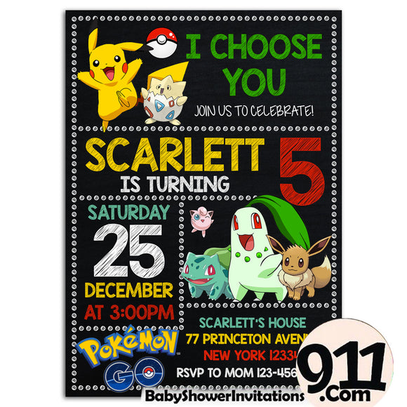 Pokemon Birthday Party Invitation 2 28032020, Personalize-Invitation | BabyShowerInvitations911.com
