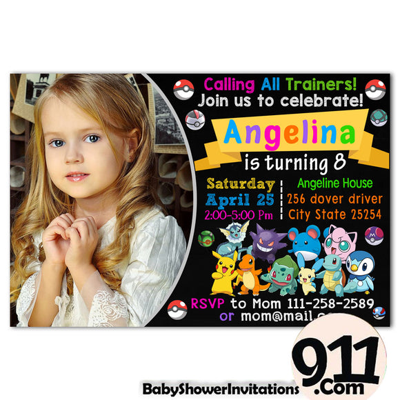 Pokemon Birthday Party Invitation 20 28032020, Personalize-Invitation | BabyShowerInvitations911.com
