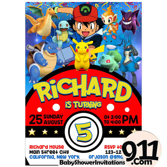 Pokemon Birthday Party Invitation Pokemon Theme Birthday Party Invitation Ax13 - babyshowerinvitations911.com
