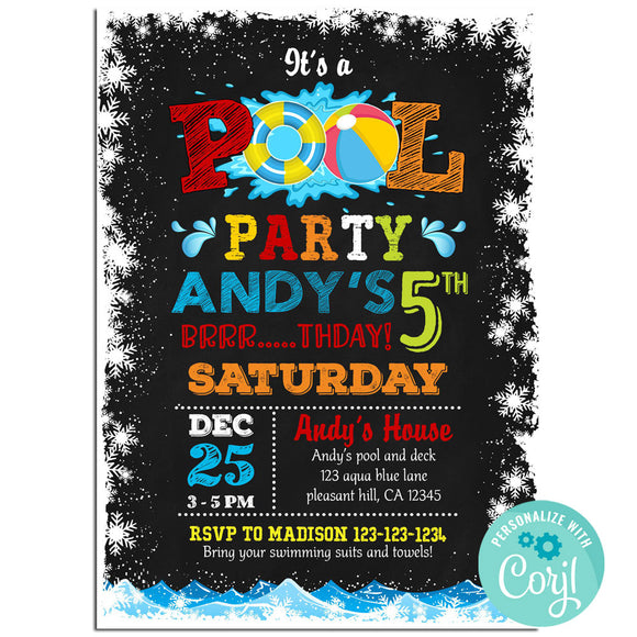 Pool  Birthday Party Invitation, Pool Theme Birthday Party Invitation Corjl - babyshowerinvitations911.com