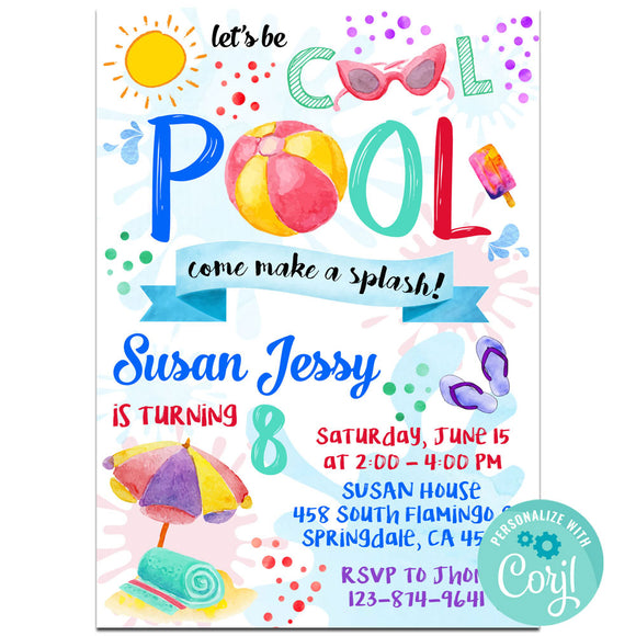 Pool  Birthday Party Invitation, Pool  Theme Birthday Party Invitation Corjl