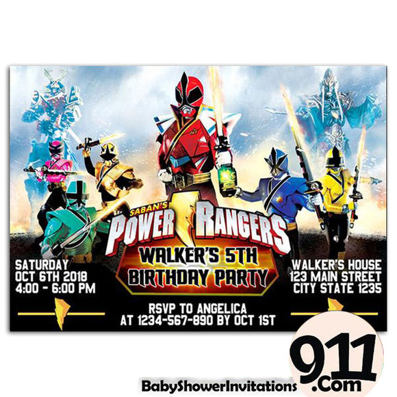Power Rangers Birthday Party Invitation 3 01042020, Personalize-Invitation | BabyShowerInvitations911.com