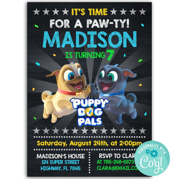 Puppy Dog Pals Birthday Party Invitation, Puppy Dog Pals Theme Birthday Party Invitation Corjl