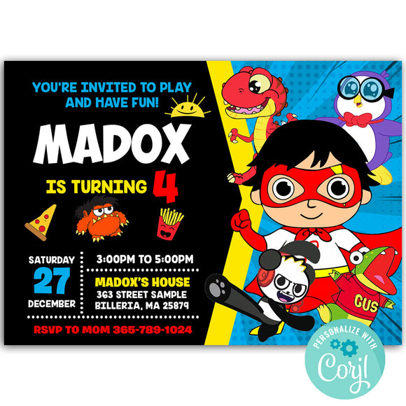 Ryan Birthday Party Invitation, Ryan Theme Birthday Party Invitation Corjl