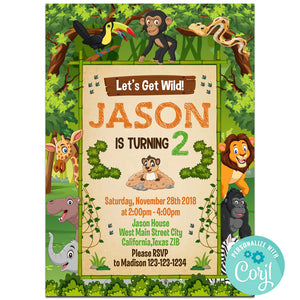Safari Birthday Party Invitation, Safari Theme Birthday Party Invitation Corjl - babyshowerinvitations911.com
