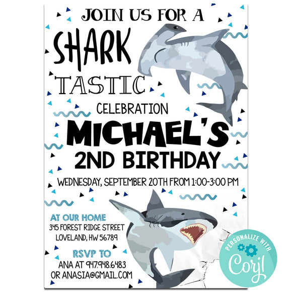Shark Birthday Party Invitation, Shark Theme Birthday Party Invitation Corjl - babyshowerinvitations911.com