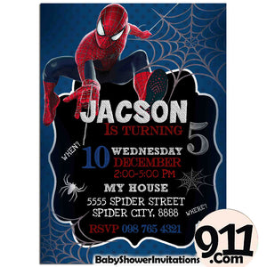 Spiderman Birthday Party Invitation Spiderman Theme Birthday Party Invitation Ax3 - babyshowerinvitations911.com