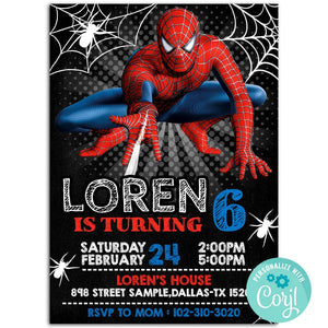 Spiderman Birthday Party Invitation, Spiderman Theme Birthday Party Invitation Corjl