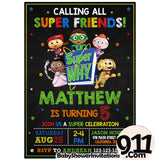 Super Why Birthday Party Invitation Theme Birthday Party Invitation - babyshowerinvitations911.com