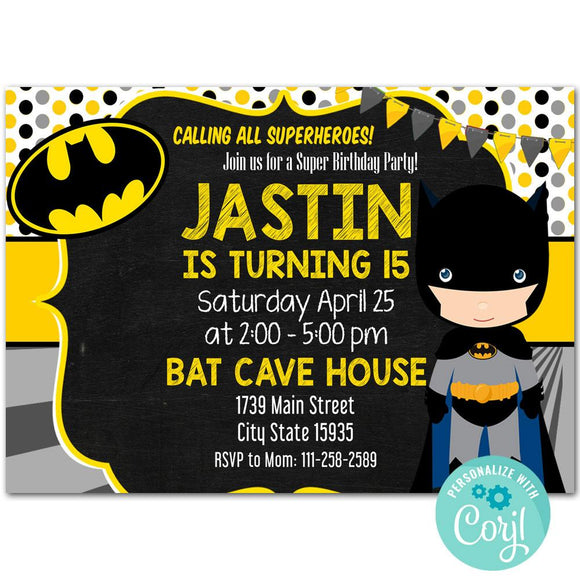 Superhero Batman Birthday Party Invitation, Superhero Batman Theme Birthday Party Invitation Corjl
