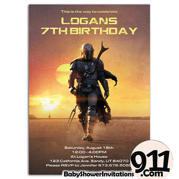 The Mandalorian Birthday Party Invitation The Mandalorian Theme Birthday Party Invitation - babyshowerinvitations911.com