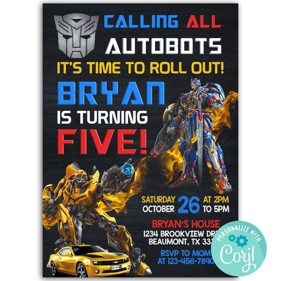 Transformers Birthday Party Invitation, Transformers Theme Birthday Party Invitation Corjl