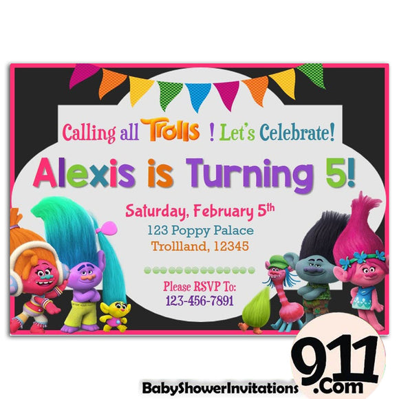 Trolls Birthday Party Invitation 1 01042020, Personalize-Invitation | BabyShowerInvitations911.com