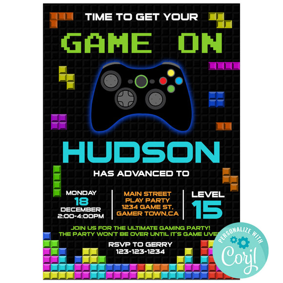 Video Game Birthday Party Invitation, Video Game Theme Birthday Party Invitation Corjl - babyshowerinvitations911.com