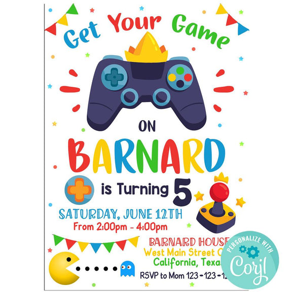 Video Game Birthday Party Invitation, Video Game Theme Birthday Party Invitation Corjl