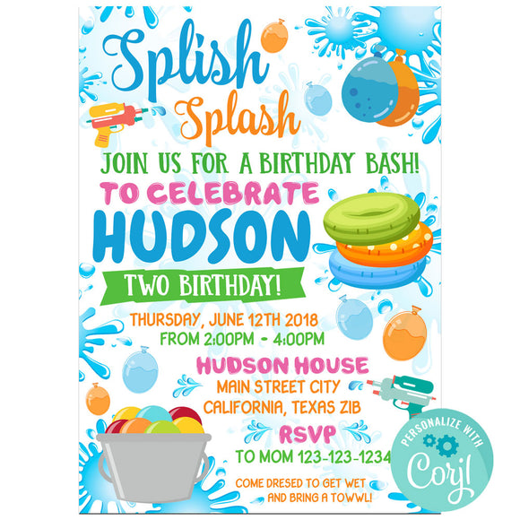 Water Birthday Party Invitation, Water Theme Birthday Party Invitation Corjl