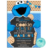 Cookie Monster  Birthday Invitation Invitation, Cookie Monster Theme Birthday Party Invitation, Cookie Monster Birthday Party Corjl- babyshowerinvitations911.com