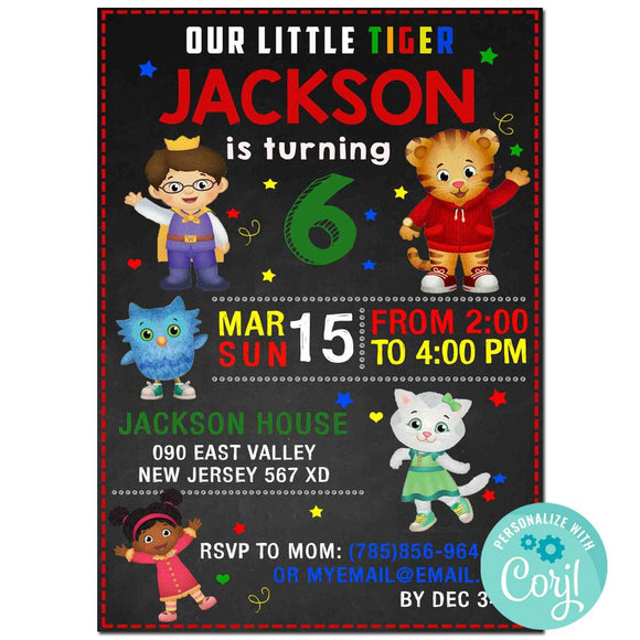 Daniel Tiger Birthday Party Invitation, Daniel Tiger Theme Birthday Party Invitation Corjl