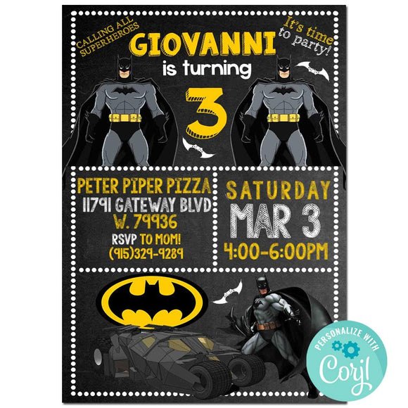 Batman Birthday Party Invitation, Batman Theme Birthday Party Invitation Corjl