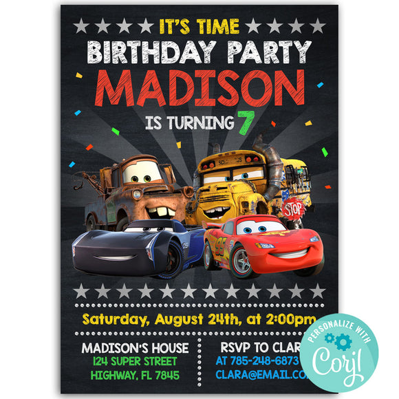 Disney Cars Birthday Party Invitation, Disney Cars Theme Birthday Party Invitation Corjl