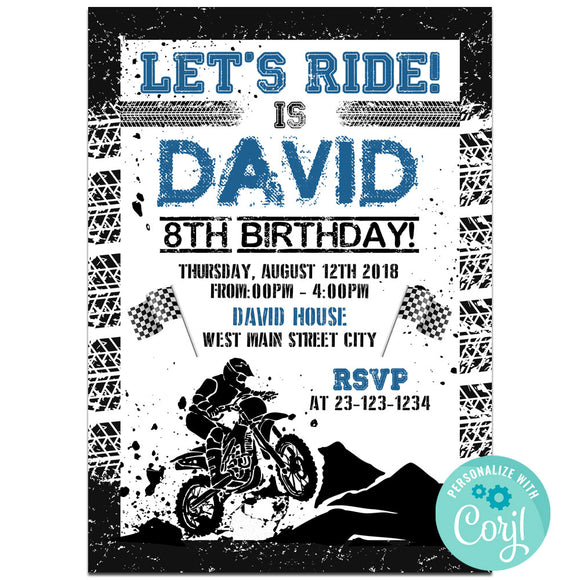 Motor Cross Birthday Party Invitation, Motor Cross Theme Birthday Party Invitation Corjl- babyshowerinvitations911.com